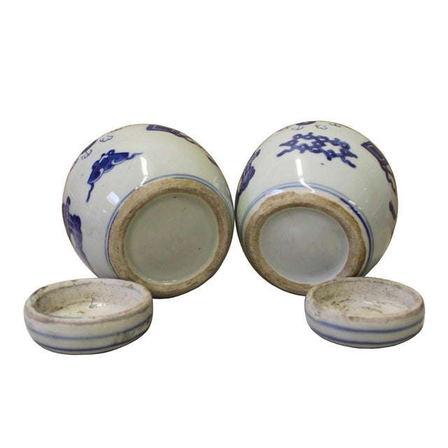Pair Blue White Small Oriental Graphic Porcelain Ginger Jars - Image 5 of 6