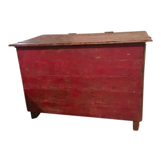 1910s Rustic Red Paint Divided Storage Trunk For Sale