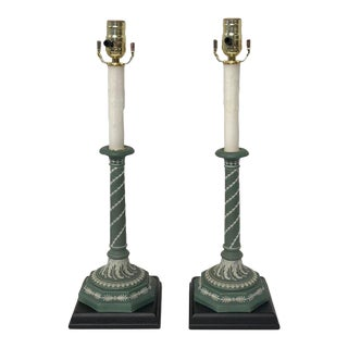 Pair of Olive Green and White Wedgwood Candlesticks, Now as Lamps For Sale
