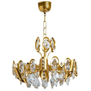 Hollywood Regency Jeweled Crystal and Gilded Chandelier by Palwa For Sale