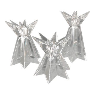 "Mikasa ""Galaxia"" Crystal Shooting Star Shaped Candle Holders - Set of 3 For Sale"
