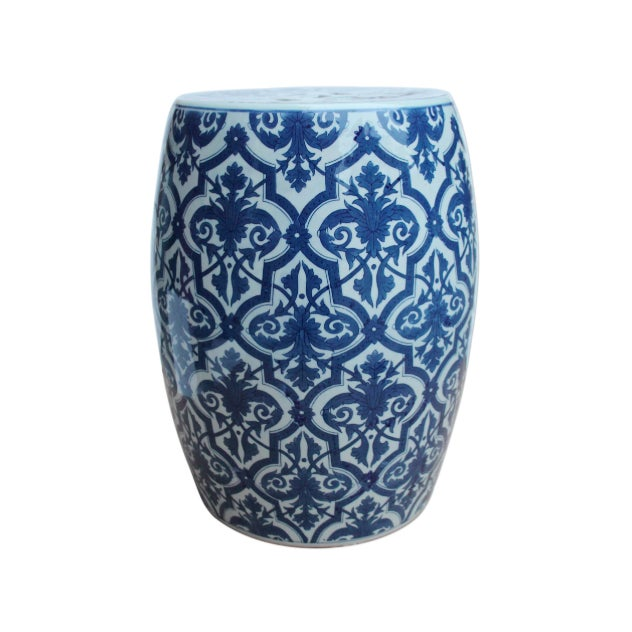 Asian Blue & White Paris Floral Garden Stool For Sale - Image 3 of 3
