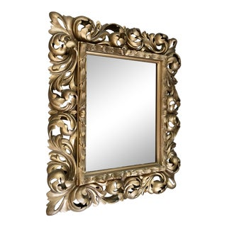 Antique Baroque Style Gilt Wood Statement Mirror For Sale