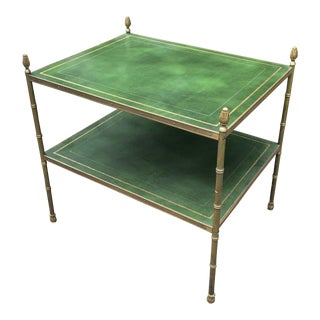 1950's Vintage Bagues Style Leather Table For Sale