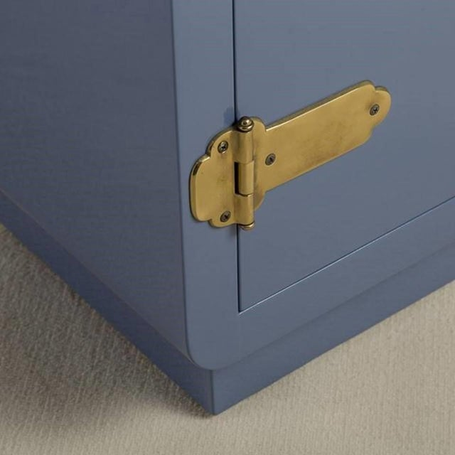 Mastercraft Mastercraft Console Cabinet in Soft Blue Lacquer and Brass For Sale - Image 4 of 6