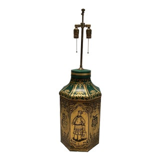 Chinoiserie Style Gilt-Decorated Green Tole Tea Canister Lamp For Sale