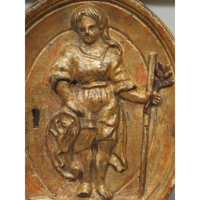 Baroque 18th century giltwood bas relief carving For Sale - Image 3 of 8