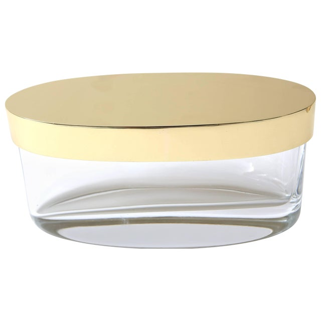 Oval-Form Lidded Box in Crystal and Brass by Fontana Arte For Sale