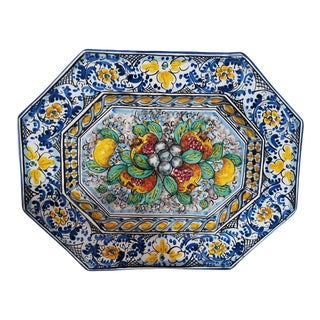 Italy, Caltagirone Majolica Octagonal Platter For Sale