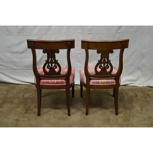 Kindel Neoclassical Mahogany Lyre Back Chairs - 4 - Image 5 of 9