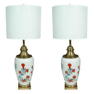 1970s Chapman Hand-Painted Porcelain Lamps - a Pair For Sale