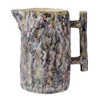 Early 20th Century Antique Faux Bois Majolica Pitcher For Sale