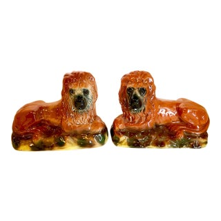 Pair of Staffordshire Recumbent Lions, Late 19th Century For Sale