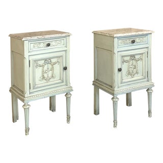 Pair of Nightstands, Antique Italian Louis XVI Painted With Marble Tops For Sale