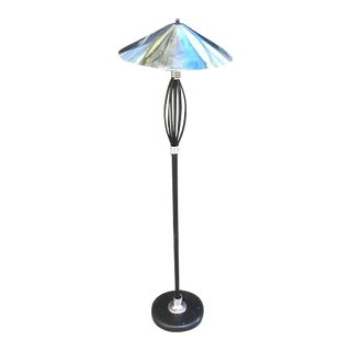 Vintage Chrome-Shade Vintage Galactic Iron Floor Lamp For Sale