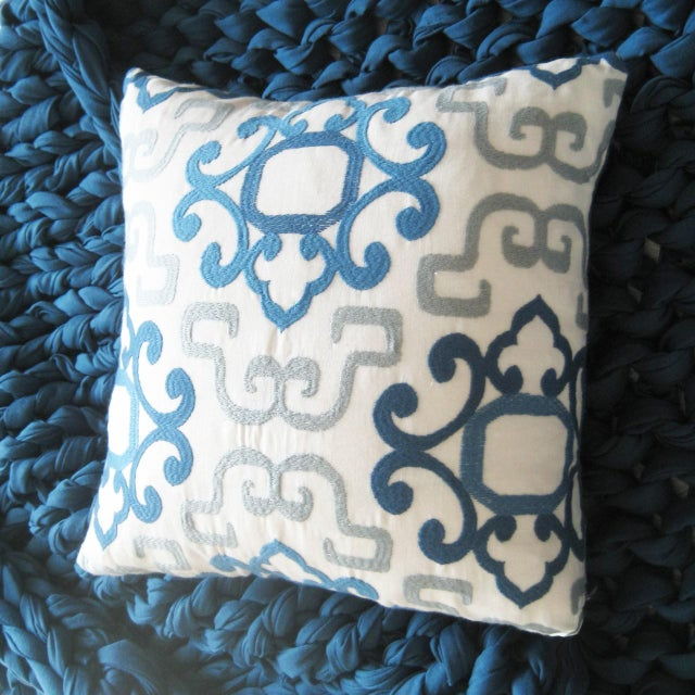 Mediterranean Blue & White Greek Pillow For Sale - Image 3 of 4