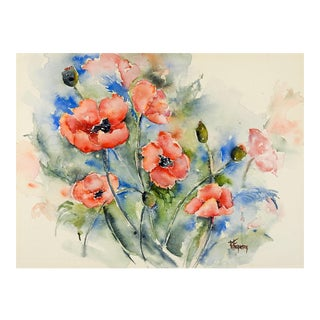 Garden Poppies Watercolor Painting For Sale