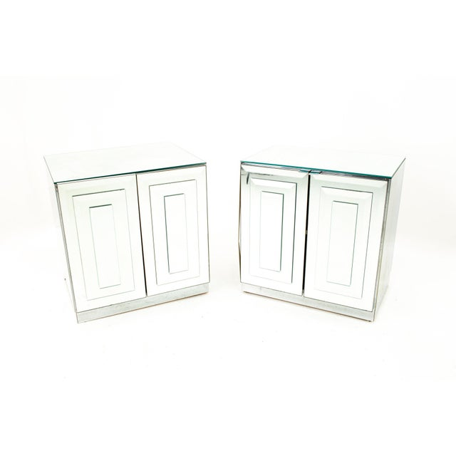 "Ello Mirrored Mid Century ""Skyscraper"" Nightstand - Pair For Sale - Image 13 of 13"