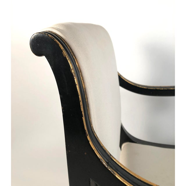 Regency Style Ebonized and Parcel Gilt Armchair For Sale - Image 11 of 12
