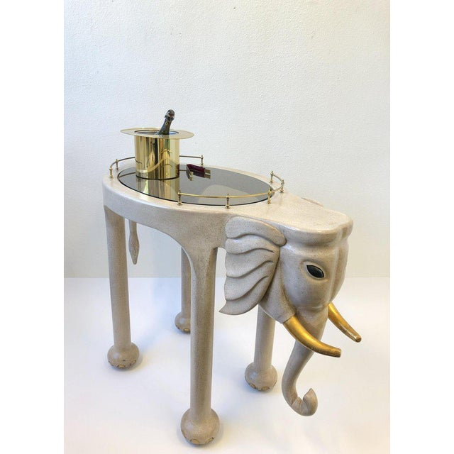 1980s Carved Wood Elephant Bar Cart by Marge Carson For Sale - Image 9 of 12