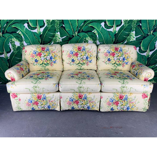 Pair of matching floral print sofas by Sherrill Furniture Co. Perfect for your Hollywood Regency decor. Extremely...