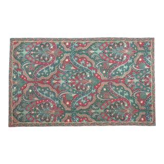 Vintage French Wool Tapestry / Area Rug With Fleur De Lis Center Medallion For Sale