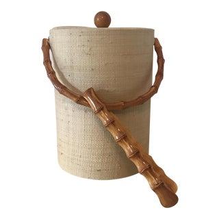 Rattan Ice Bucket W/Bamboo Tongs