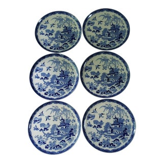 Vintage Mandarin Blue by Maruta Japan Dinner Plates - Set of 6 For Sale