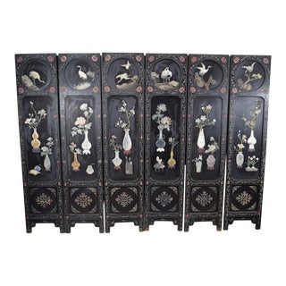 Early 20th Century Chinese 6-Panel Semi-Precious Stone Carvings Inlaid Wooden Floor Screen For Sale