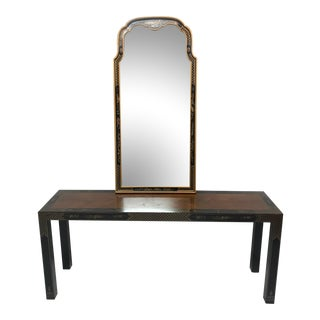 1970s Chinese Black Console & Mirror - 2 Pieces For Sale