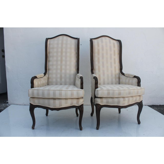 French Provincial Carved Wood Arm Chairs - A Pair - Image 2 of 11