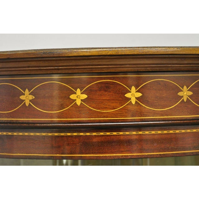 English Edwardian Satinwood Inlay Bowed Curved Glass China Display Cabinet Curio For Sale - Image 10 of 13