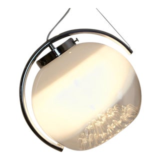 Sublime Chrome and Frosted Glass Moon Pendant by A.V. Mazzega, Italy 1970s