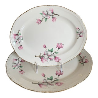 Oval Platters in Pattern Dogwood Liberty by Homer Laughlin Circa 1950 - a Pair For Sale