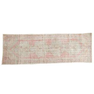 """Vintage Distressed Oushak Rug Runner - 3'5"""" X 10' For Sale"""
