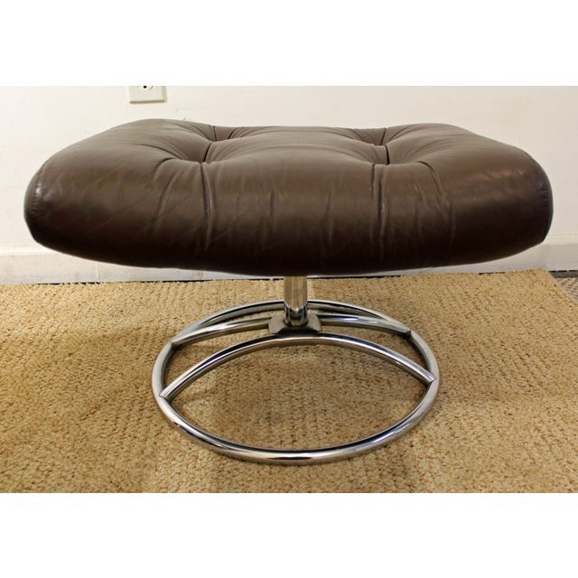 Animal Skin Mid-Century Danish Modern Ekornes Stressless Chrome Lounge Chair/Ottoman For Sale - Image 7 of 11