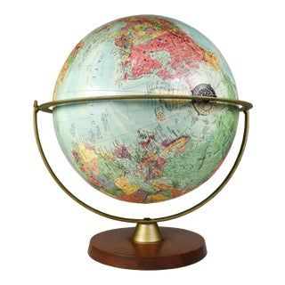 Vintage Replogle Stereo Relief Table Top Rotating World Globe For Sale