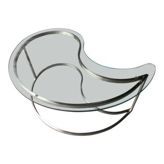 Chrome Kidney Glass Coffee Table
