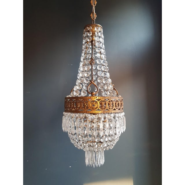 Basket Chandelier Brass Empire Crystal Lustre Ceiling Lamp Antique Art Nouveau For Sale - Image 12 of 12