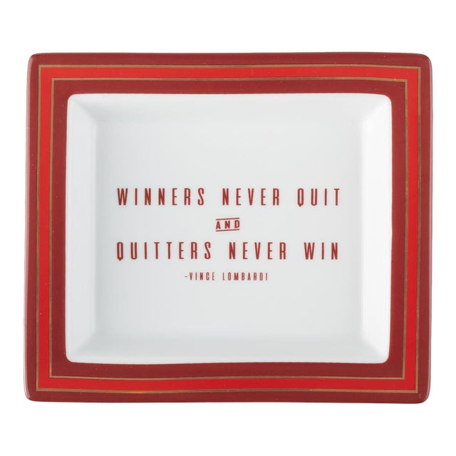 Vince Lombardi Wise Sayings Gentleman's Trinket Tray by Kenneth Ludwig Chicago For Sale
