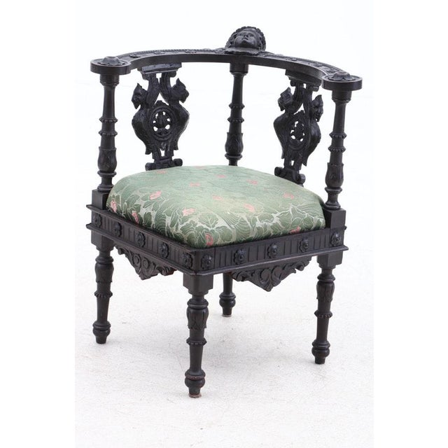 19th Century Italian Renaissance Hand-Carved Upholstered Corner Chairs- A Pair For Sale - Image 4 of 11