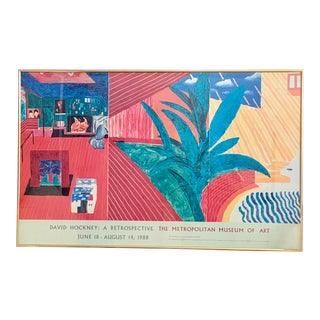 1988 David Hockney a Retrospective Poster Print For Sale