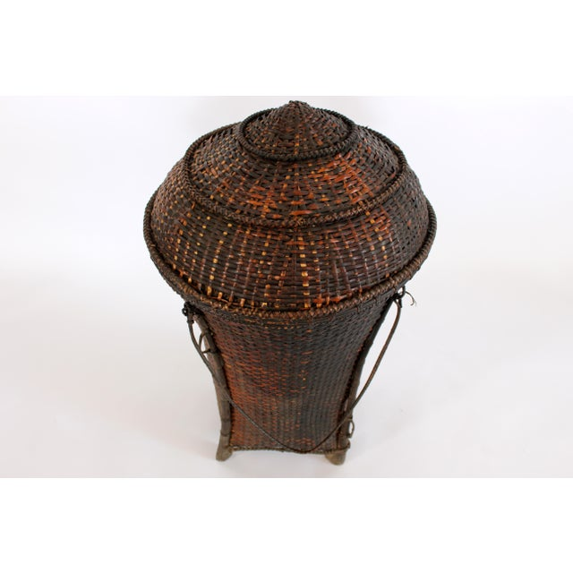 Woven Storage Basket with Lid For Sale - Image 4 of 10