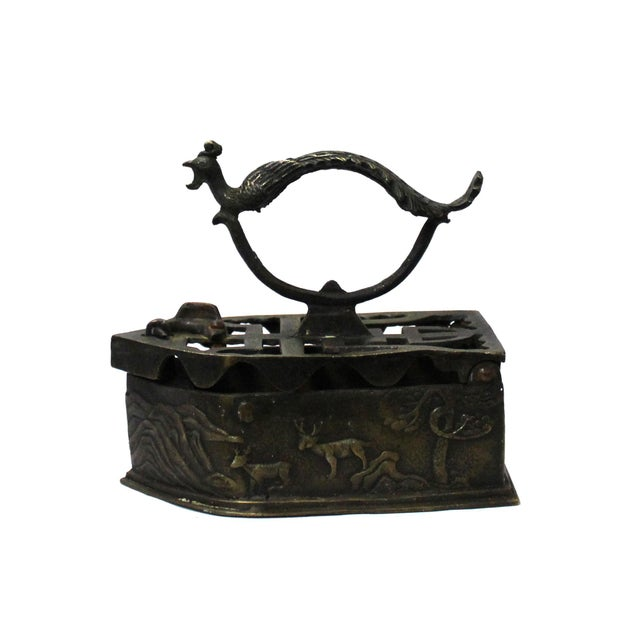 Bronze Chinese Handmade Metal Bronze Color Old Fashion Iron Shape Display For Sale - Image 7 of 7