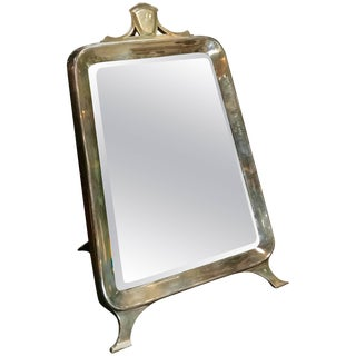 Table Mirror in Silver, Italy, 1940s With Walnut Back For Sale