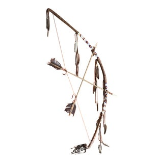 Handmade Native American Bow and Arrow Sculpture, Indian Art
