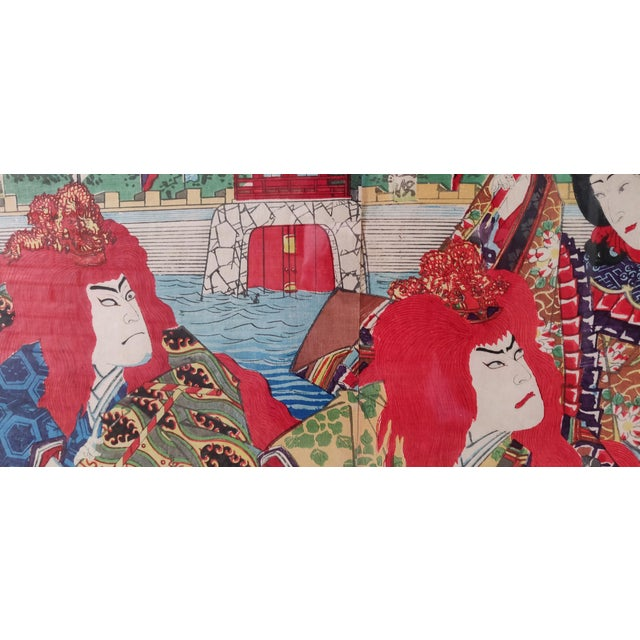 Late 19th Century Antique Meiji Period Kunichika Japanese Triptych Woodblock Print For Sale In Memphis - Image 6 of 7