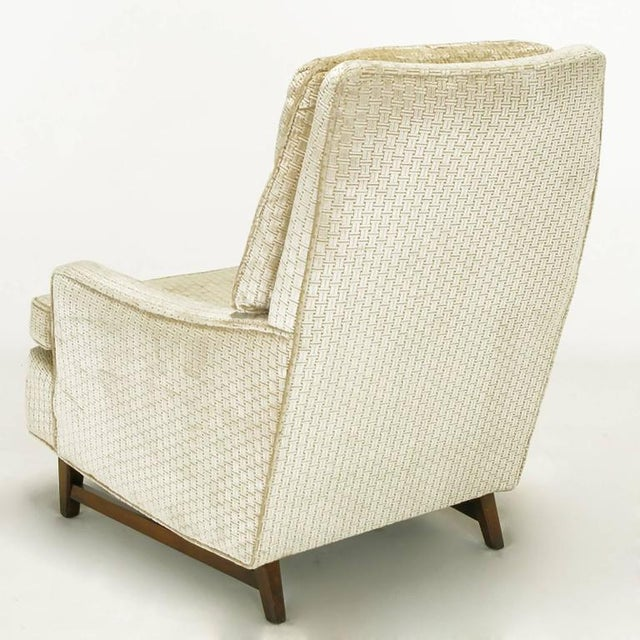 Pair of 1960s High Back Ivory Cut Velvet Lounge Chairs after Harvey Probber - Image 6 of 9