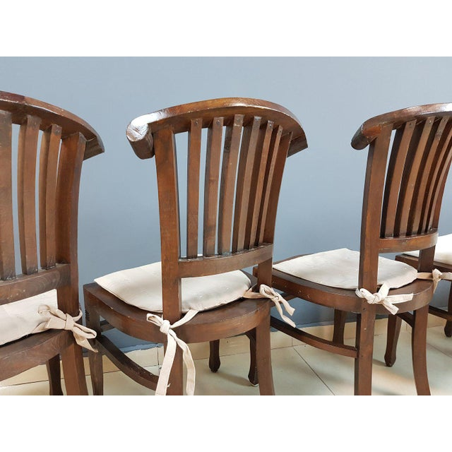 Wood Vintage Wood Colonial Dining Set Table and 6 Chairs For Sale - Image 7 of 13