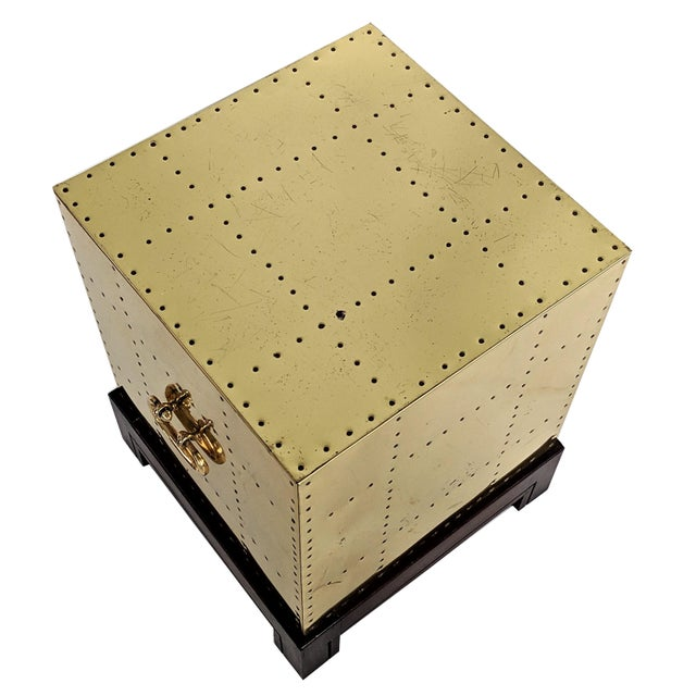 Brass 1990s Hollywood Regency Sarreid Brass Studded Cube Side Table For Sale - Image 7 of 13